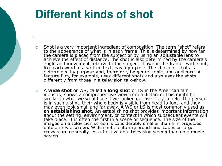 Different kinds of shot