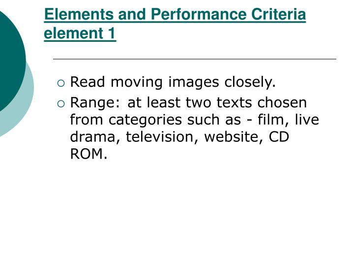Elements and performance criteria element 1