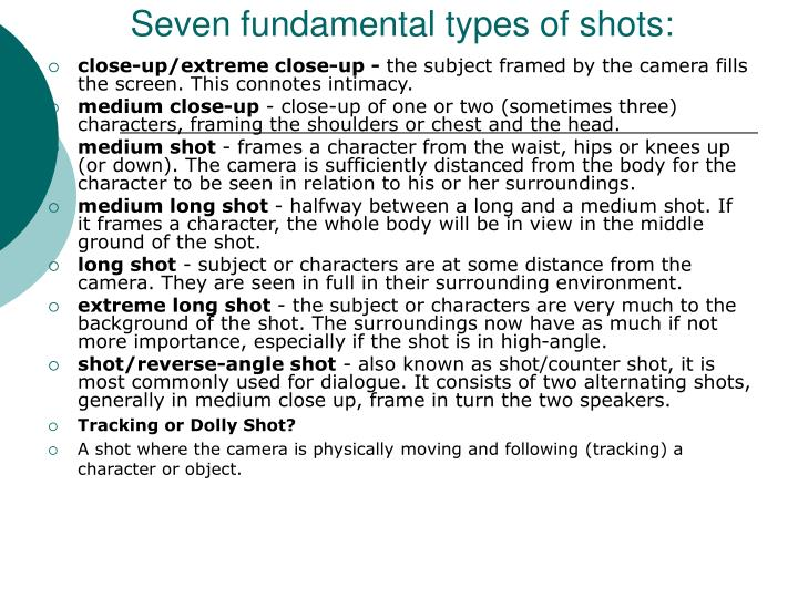 Seven fundamental types of shots: