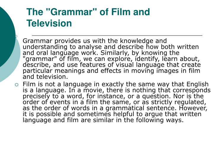 """The """"Grammar"""" of Film and Television"""