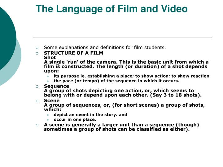 The Language of Film and Video
