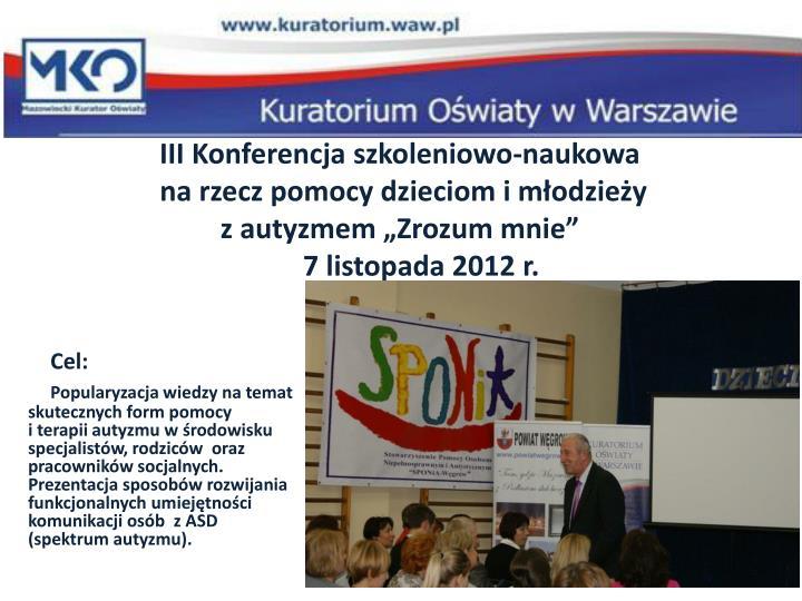 III Konferencja szkoleniowo-naukowa