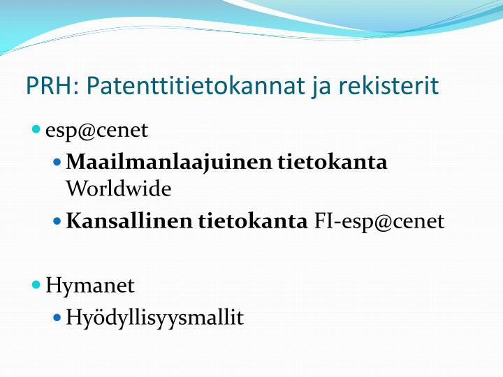 PRH: Patenttitietokannat ja rekisterit