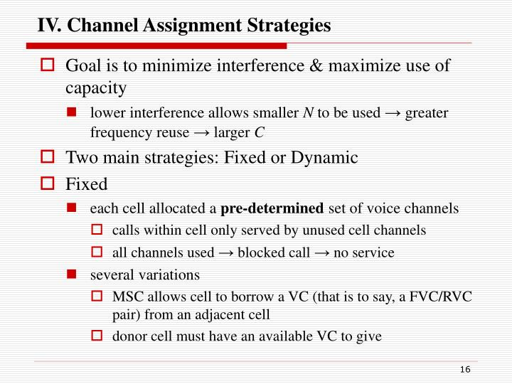 IV. Channel Assignment Strategies