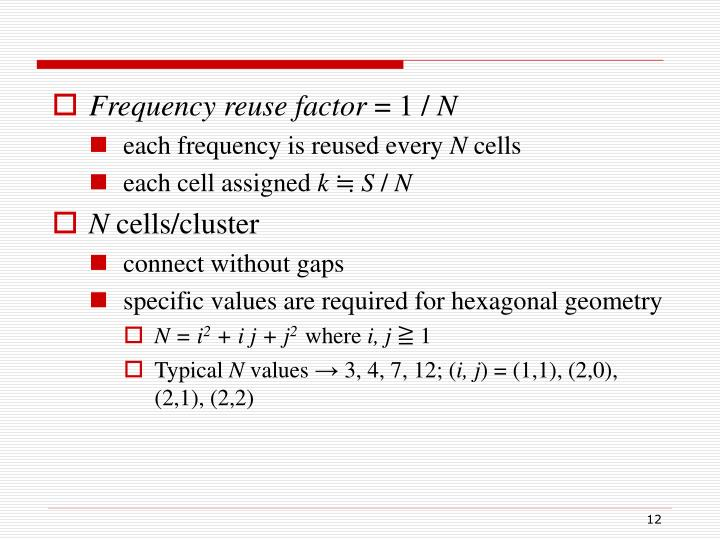 Frequency reuse factor