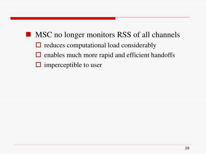 MSC no longer monitors RSS of all channels