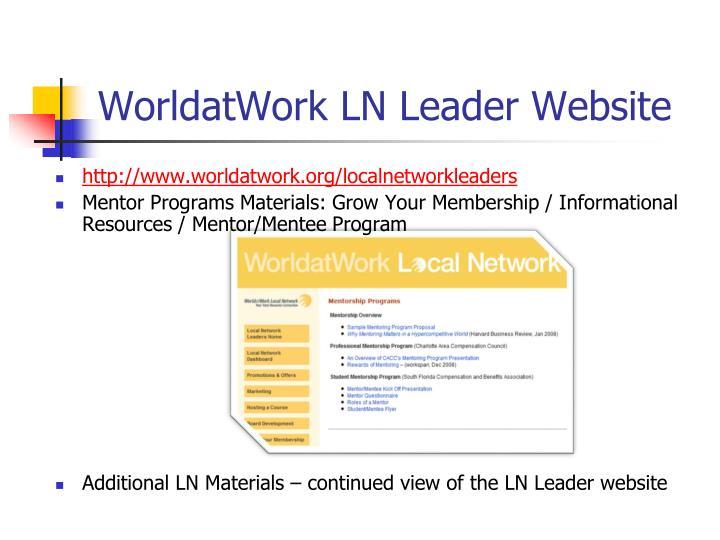 WorldatWork LN Leader Website