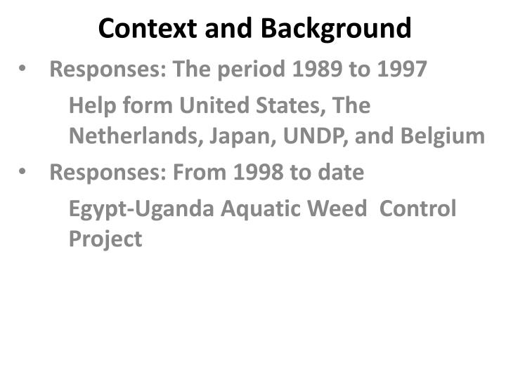 Context and background1