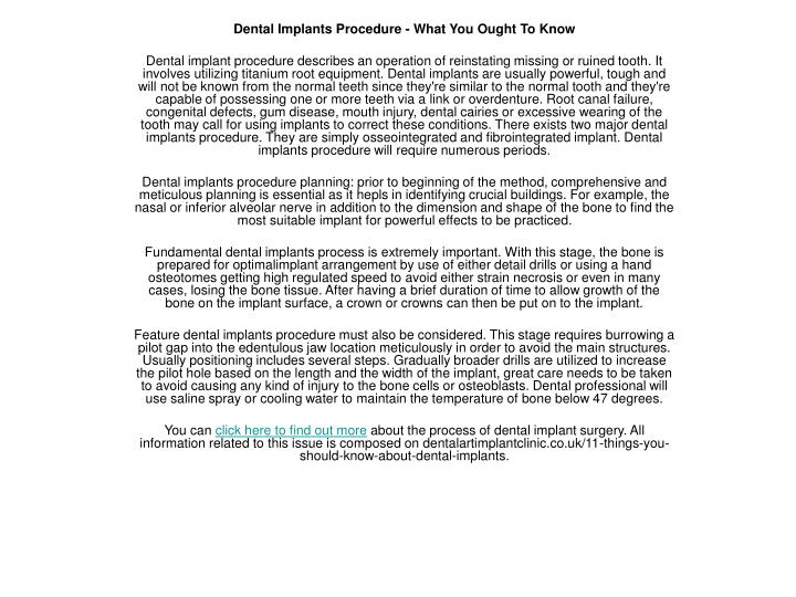 Dental Implants Procedure - What You Ought To Know