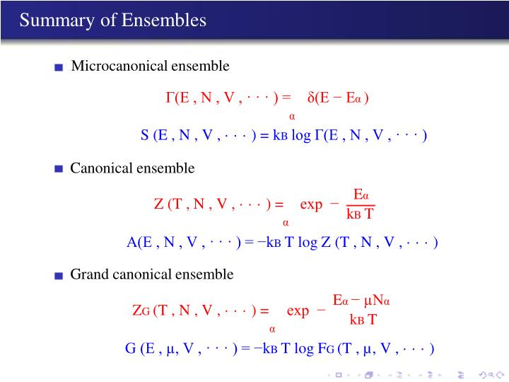 Summary of Ensembles