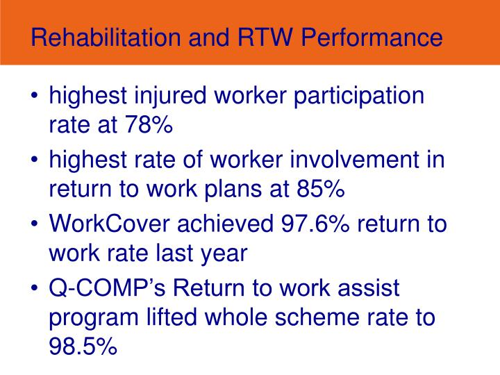 Rehabilitation and RTW Performance