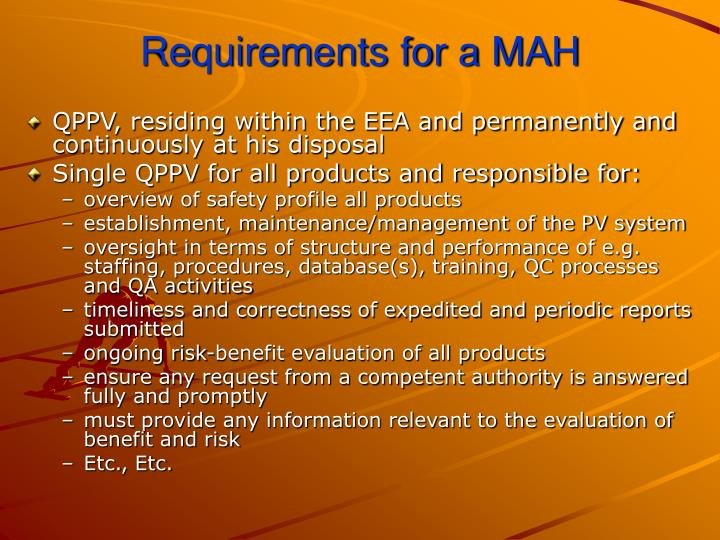 Requirements for a mah