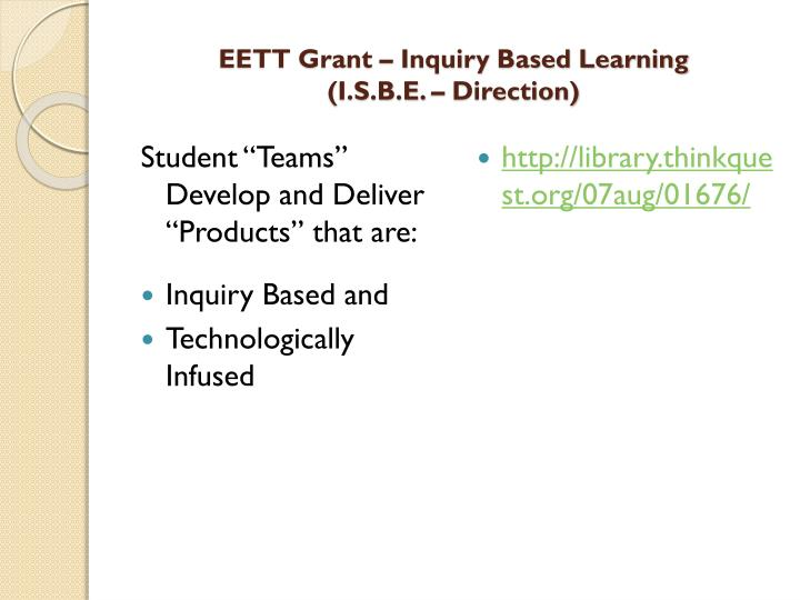 Eett grant inquiry based learning i s b e direction2