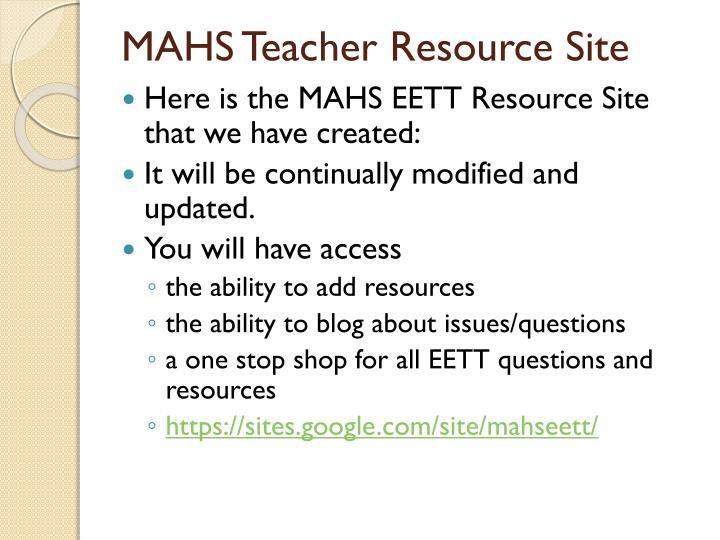 MAHS Teacher Resource Site