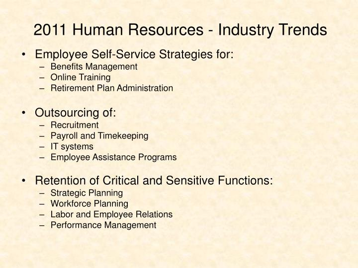 2011 Human Resources - Industry Trends