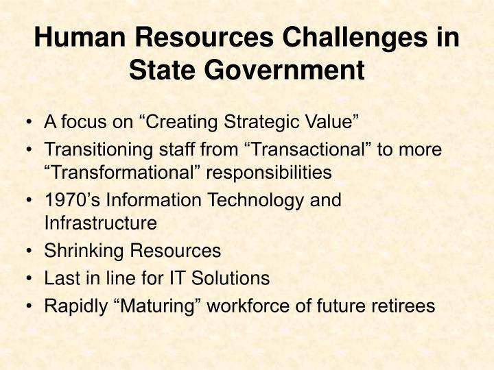 Human Resources Challenges in State Government