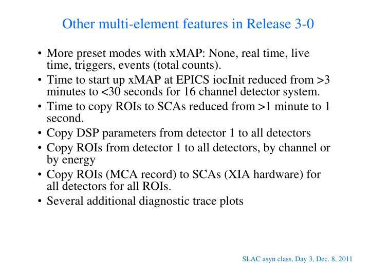Other multi-element features in Release 3-0