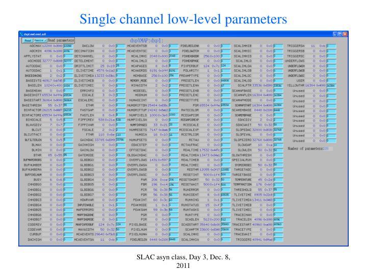 Single channel low-level parameters