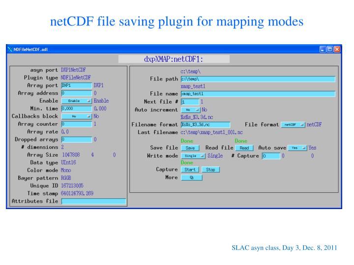 netCDF file saving plugin for mapping modes