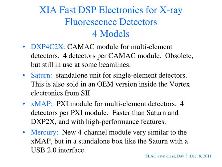 XIA Fast DSP Electronics for X-ray Fluorescence Detectors