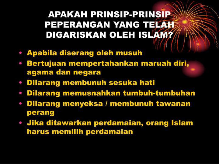 APAKAH PRINSIP-PRINSIP PEPERANGAN YANG TELAH DIGARISKAN OLEH ISLAM?