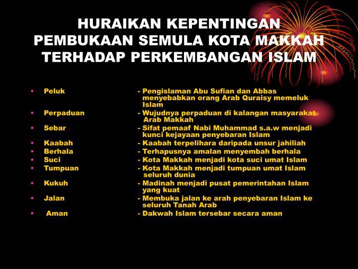 HURAIKAN KEPENTINGAN PEMBUKAAN SEMULA KOTA MAKKAH TERHADAP PERKEMBANGAN ISLAM