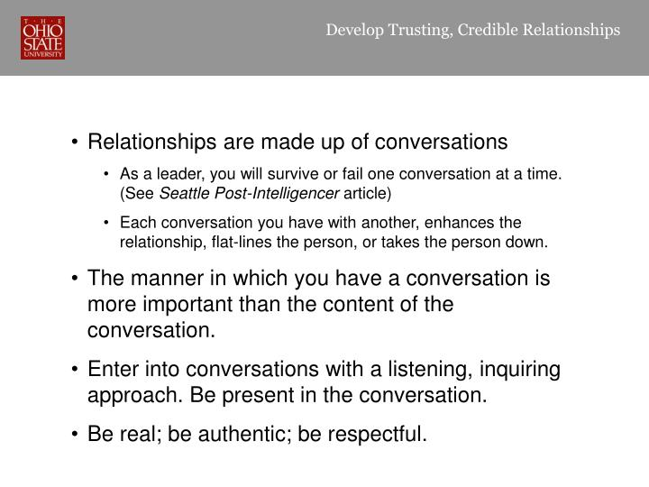 Develop Trusting, Credible Relationships