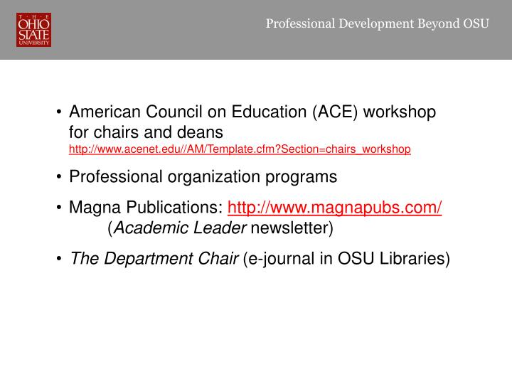 Professional Development Beyond OSU