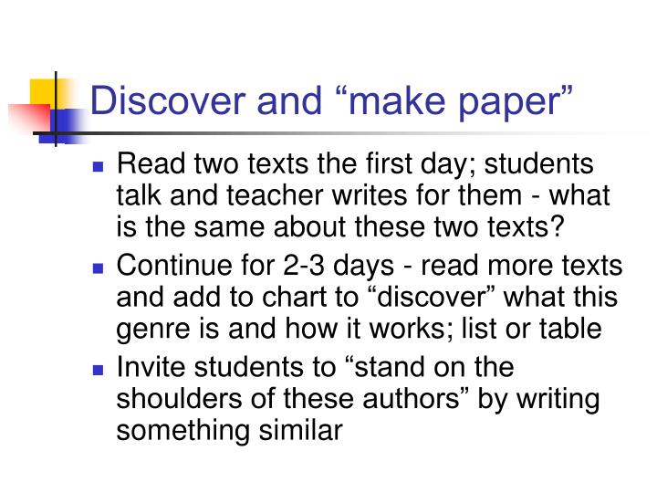 "Discover and ""make paper"""