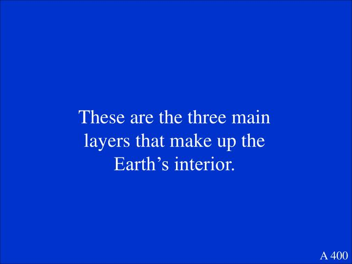 These are the three main layers that make up the Earth's interior.