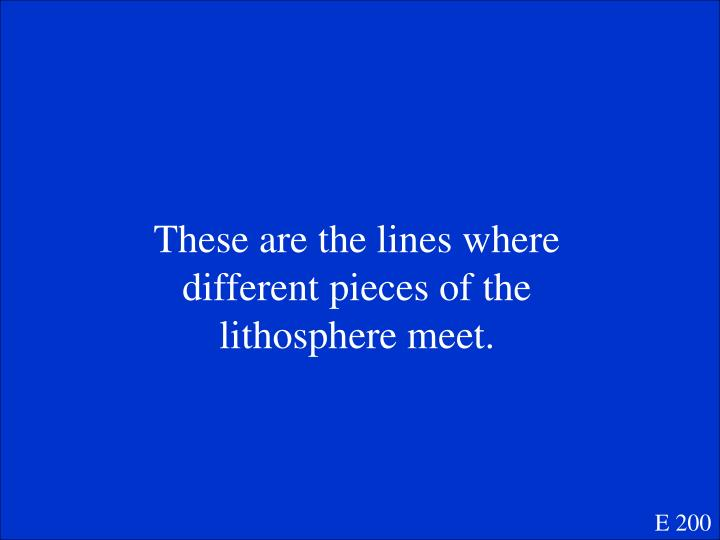 These are the lines where different pieces of the lithosphere meet.