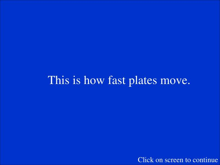 This is how fast plates move.