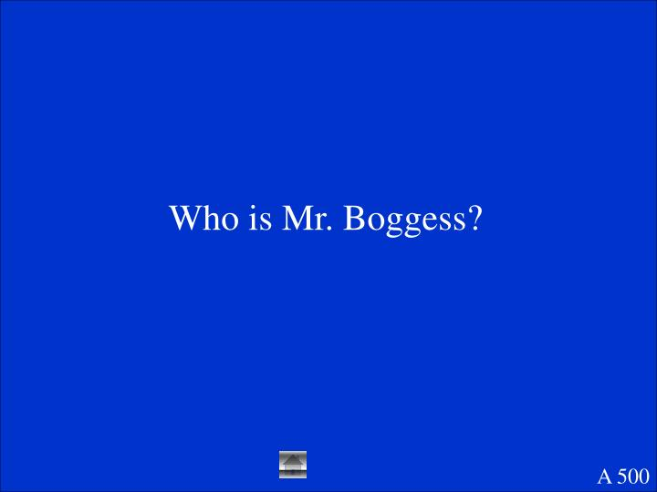 Who is Mr. Boggess?