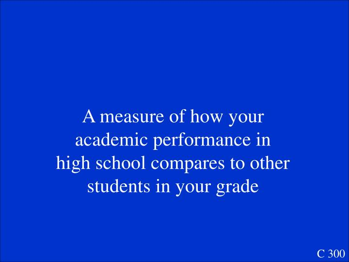 A measure of how your academic performance in high school compares to other students in your grade