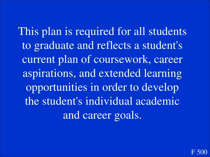 This plan is required for all students to graduate and reflects a student's current plan of coursework, career aspirations, and extended learning opportunities in order to develop the student's individual academic and career goals.