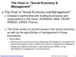 the chair in social economy management