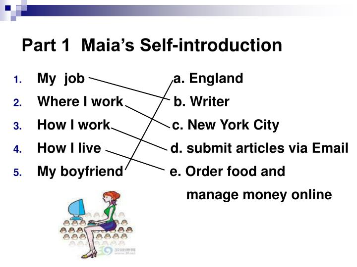 Part 1  Maia's Self-introduction