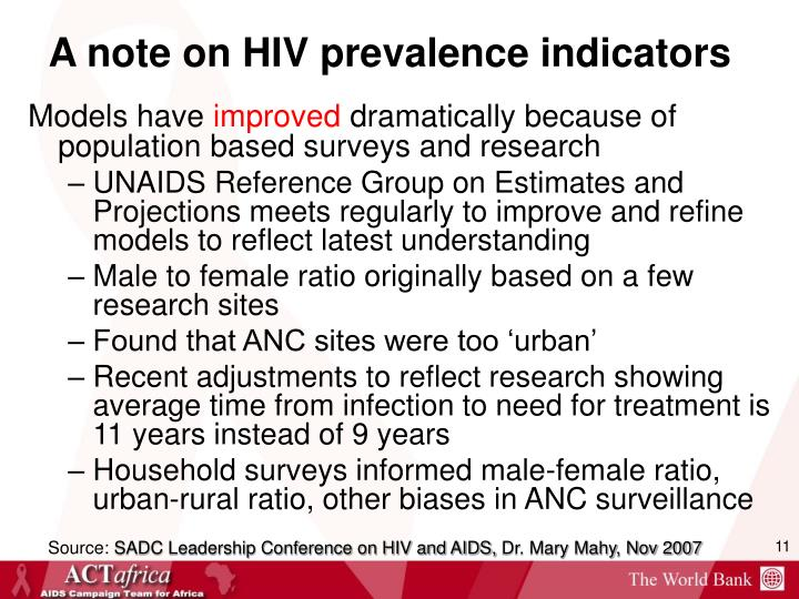 A note on HIV prevalence indicators