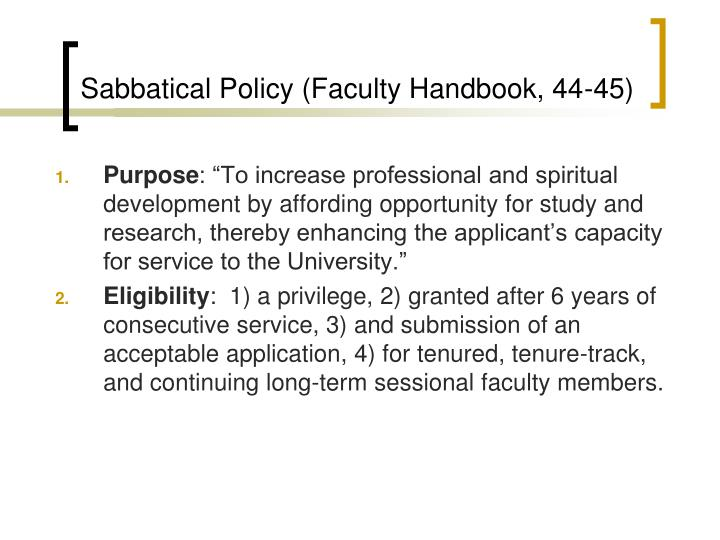 Sabbatical policy faculty handbook 44 45
