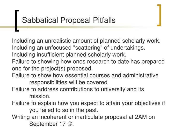 Sabbatical Proposal Pitfalls