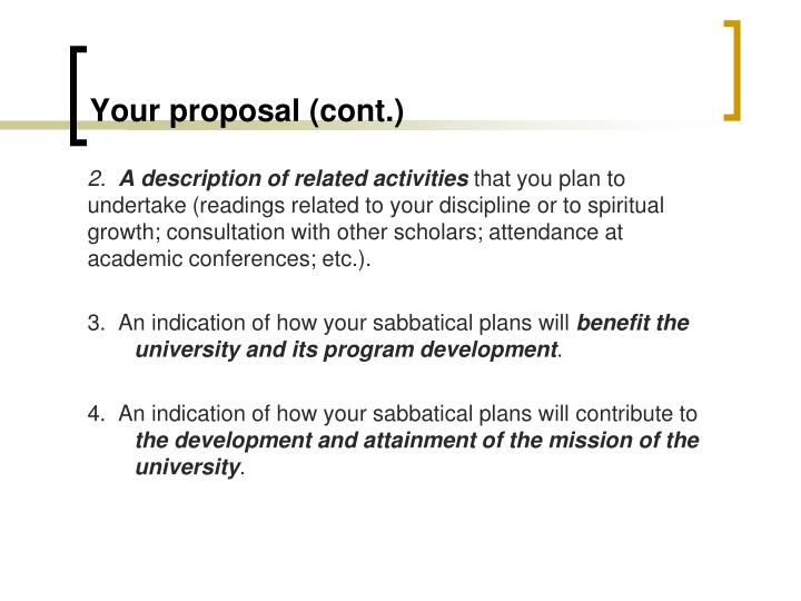 Your proposal (cont.)
