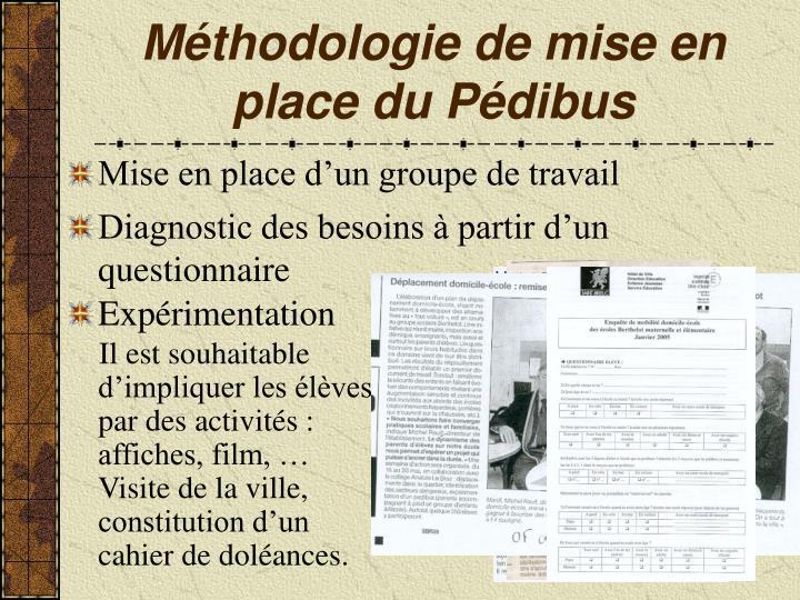 Méthodologie de mise en place du Pédibus