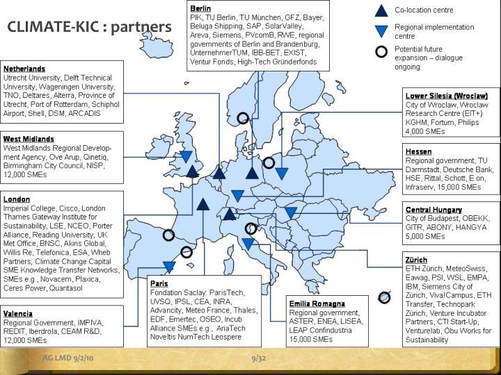 CLIMATE-KIC : partners