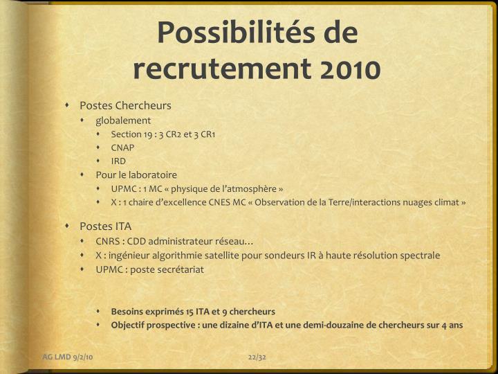 Possibilités de recrutement 2010