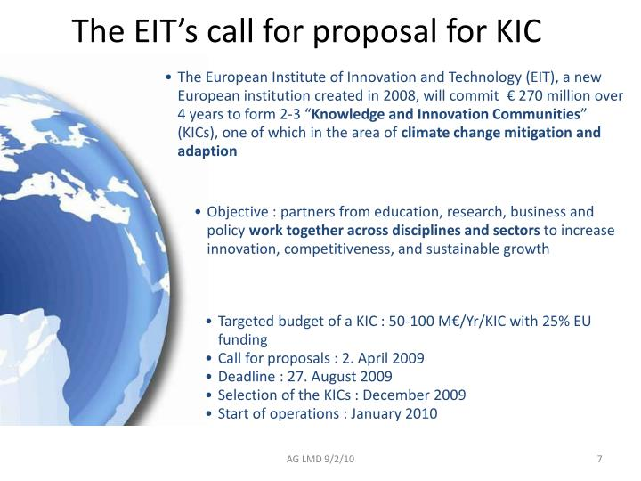 The EIT's call for proposal for KIC