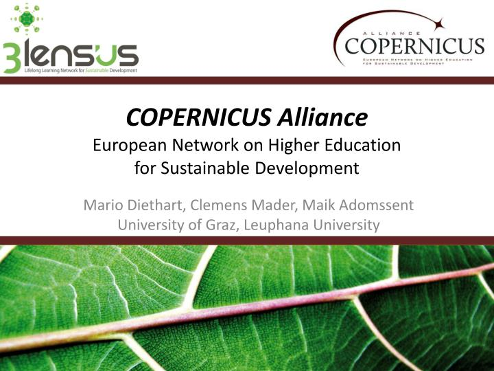 Copernicus alliance european network on higher education for sustainable development