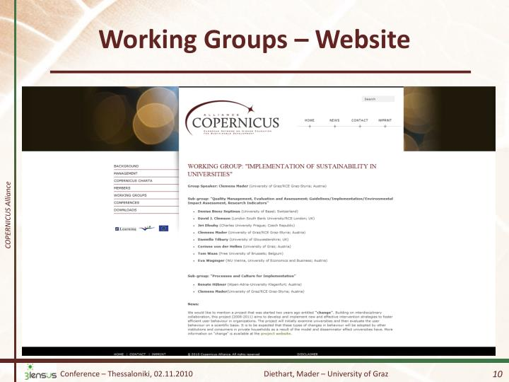 Working Groups – Website
