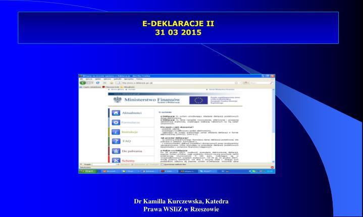E-DEKLARACJE II