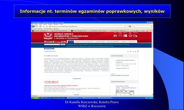 Informacje nt termin w egzamin w poprawkowych wynik w