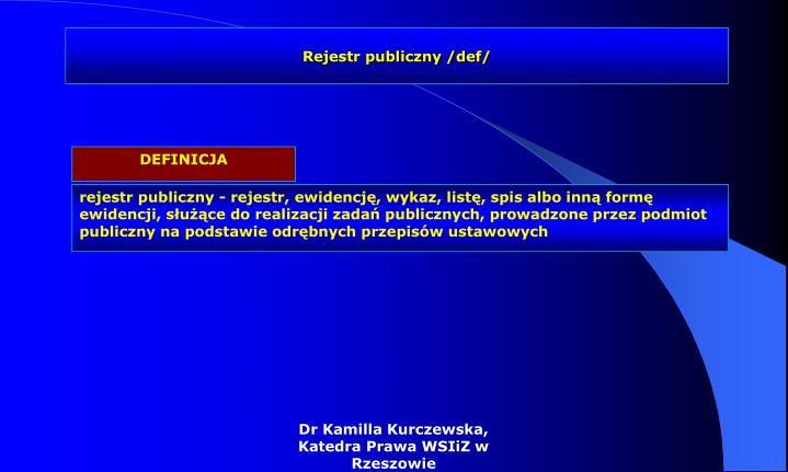 Rejestr publiczny /